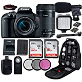 Canon EOS Rebel T7i DSLR Camera with Canon EF-S 18-55mm f/4-5.6 IS STM Lens + Canon EF-S 55-250mm f/4-5.6 IS STM Lens+ LED Light + Microphone + Video Accessory Bundle
