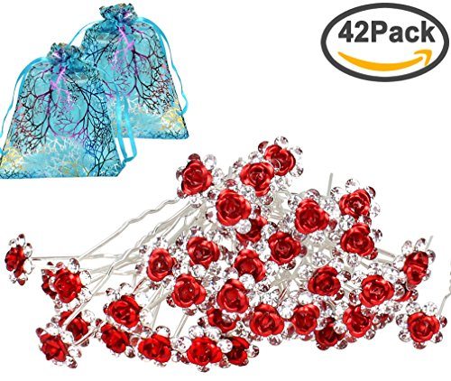 3.5' Rose (40pcs Bridal Wedding Crystall Hair Pins Red Rose Hair Pin with 2 Jewelry Bags Red Rose U-shaped Design Collection Crystal Hair Pins Clips (Red))