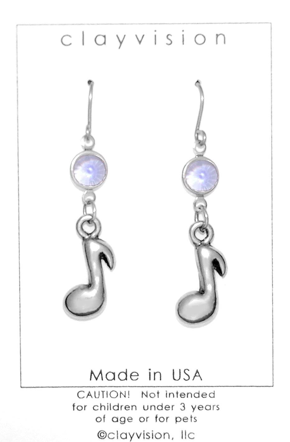 Clayvision Music Note Charm Earrings with Tanzanite Colored Swarovski Crystals Purple June