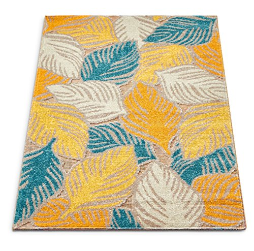 Well Woven FI-34-3 Firenze Amelia Modern Tropical Leaves Distressed Sunshine Accent Rug 2' x 3' Doormat (Accent Tropical Rugs)