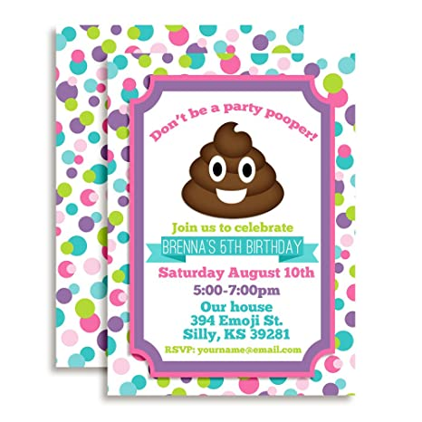 Image Unavailable Not Available For Color Poop Emoji Custom Personalized Birthday Party