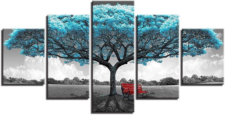 SUYUN Pintura Decorativa, Moderno Chorro de Tinta Cinco árboles ...