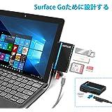 Surface Go USB C アダプタ Opluz USB2.0&USB3.0 ハブはマウス、キーボード、USBフラッシュドライブなどに対応し、デュアルSD&TFカードリーダーとマイクロUSB充電ポートはMicrosoft Surface Go(10インチ)に対応します