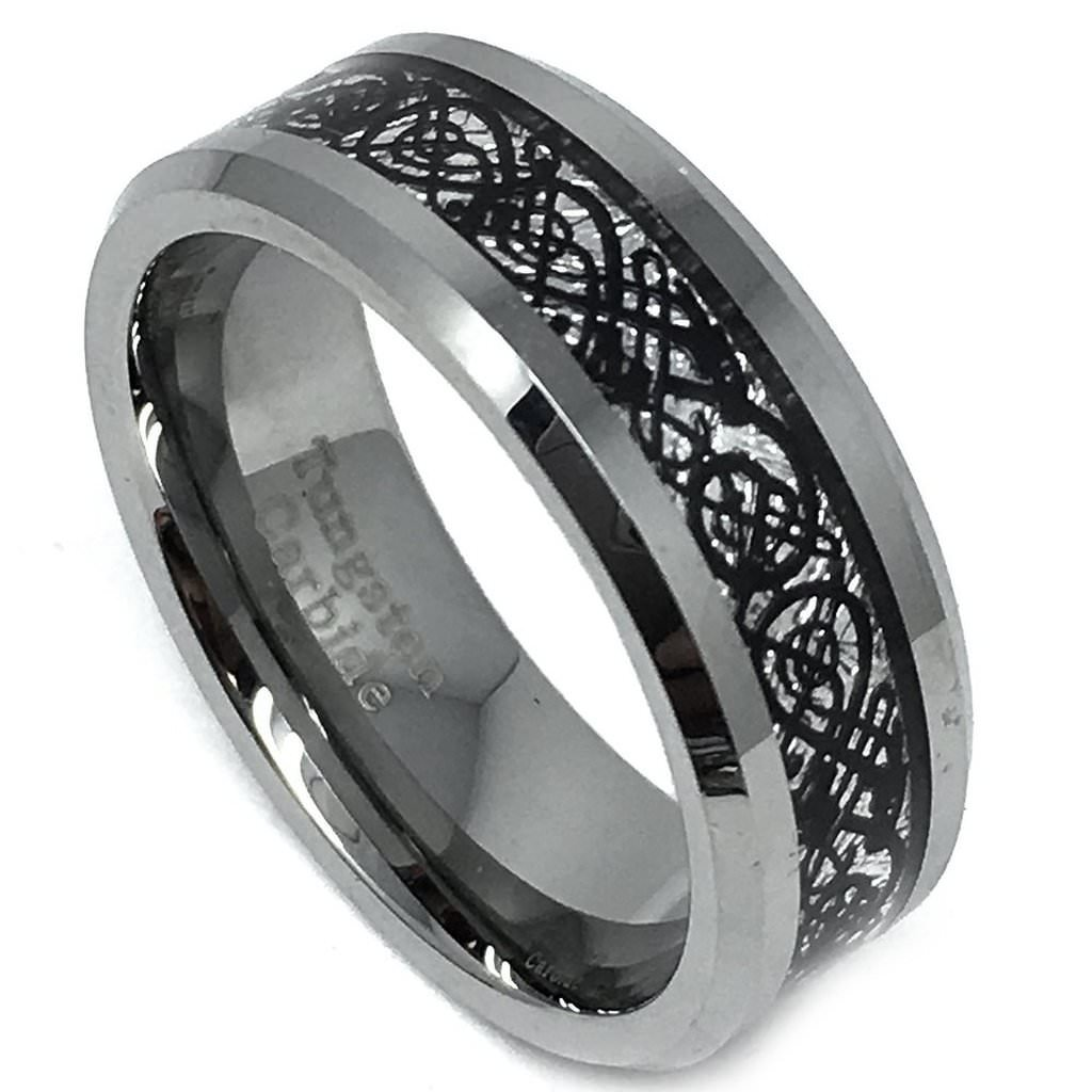 8mm - Tungsten Carbide Wedding Band Ring For Him or Her Celtic Dragon Design over Meteorite Inlay
