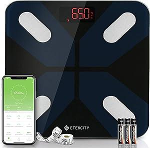 Pèse Personne Impédancemètre, Balance Connectée Bluetooth avec 13 Données Corporelles, BMI/Masse Graisse/Muscle/Eau/Protéine/Poids etc. Utilisateurs Illimité, LCD-rétro, Ruban de Mesure