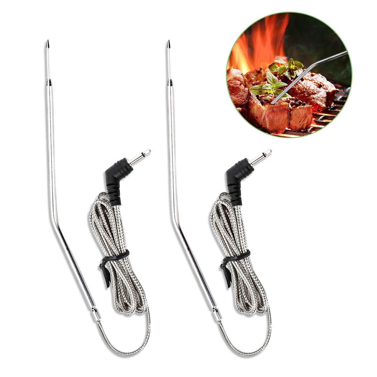 BBQ Thermometer Probe, Replacement Meat Thermometer Probe for Thermopro TP20, TP17, TP16, TP09, TP08, TP07, TP06s, TP04, AQHQUA Stainless Meat Probe High Temperature Resistant for Smoker, Grill, Oven AQHQUA -TZ2