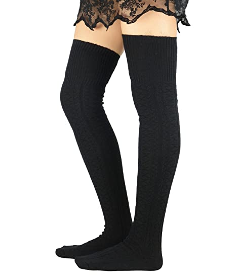 Zando Women Plus Size Thigh High Stockings Thin Over Long Striped Leg Warmers Clothing, Shoes & Accessories Women's Clothing