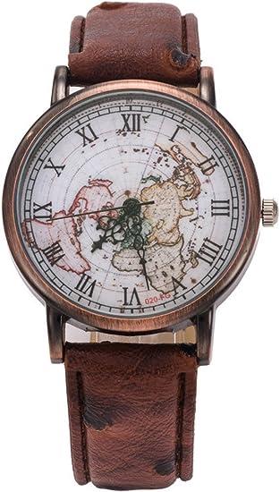 Armbanduhr Retro Weltkarte Uhren Lederband Damen Armbanduhr