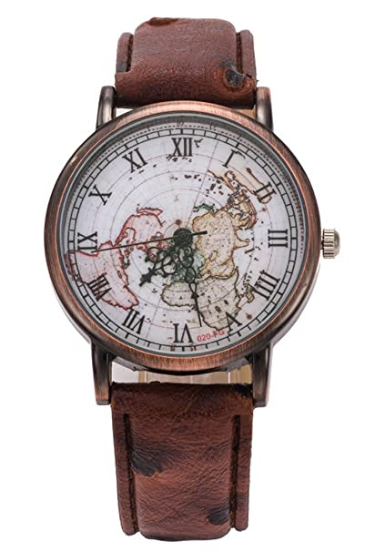 Coofit Retro Map Watches Leather Strap Roman Numerals Round Dial Quartz  Movement