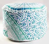 Large Ombre Mandala Round Green ottoman Floor cover Meditation Footstools Ottoman Poufs