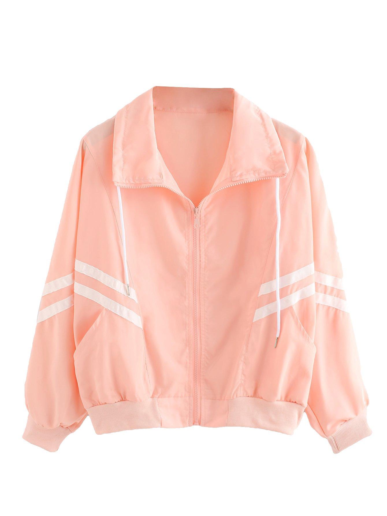 Verdusa Women's Drawstring Striped Tape Zip up Windproof Windbreaker Jacket Pink XL