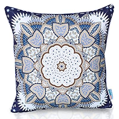 "Sunburst Outdoor Living 20"" x 20"" (with Piping) CREATIVE Blue Decorative Throw Pillow Cushion Cover for Couch, Bed, Sofa or Patio - Only Case, No Insert -  - living-room-soft-furnishings, living-room, decorative-pillows - 6125Bjswb0L. SS400  -"