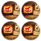 MSD Round Coasters Non-Slip Natural Rubber Desk Coasters design: 8744701 grunge with rocking horse and a picture of baby feet on textured wood background with copy space