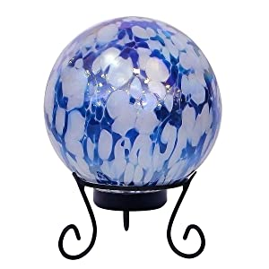 Alpine HGY308A-TM Gazing Globe with LED Light, 10 Inch Tall Blue and White