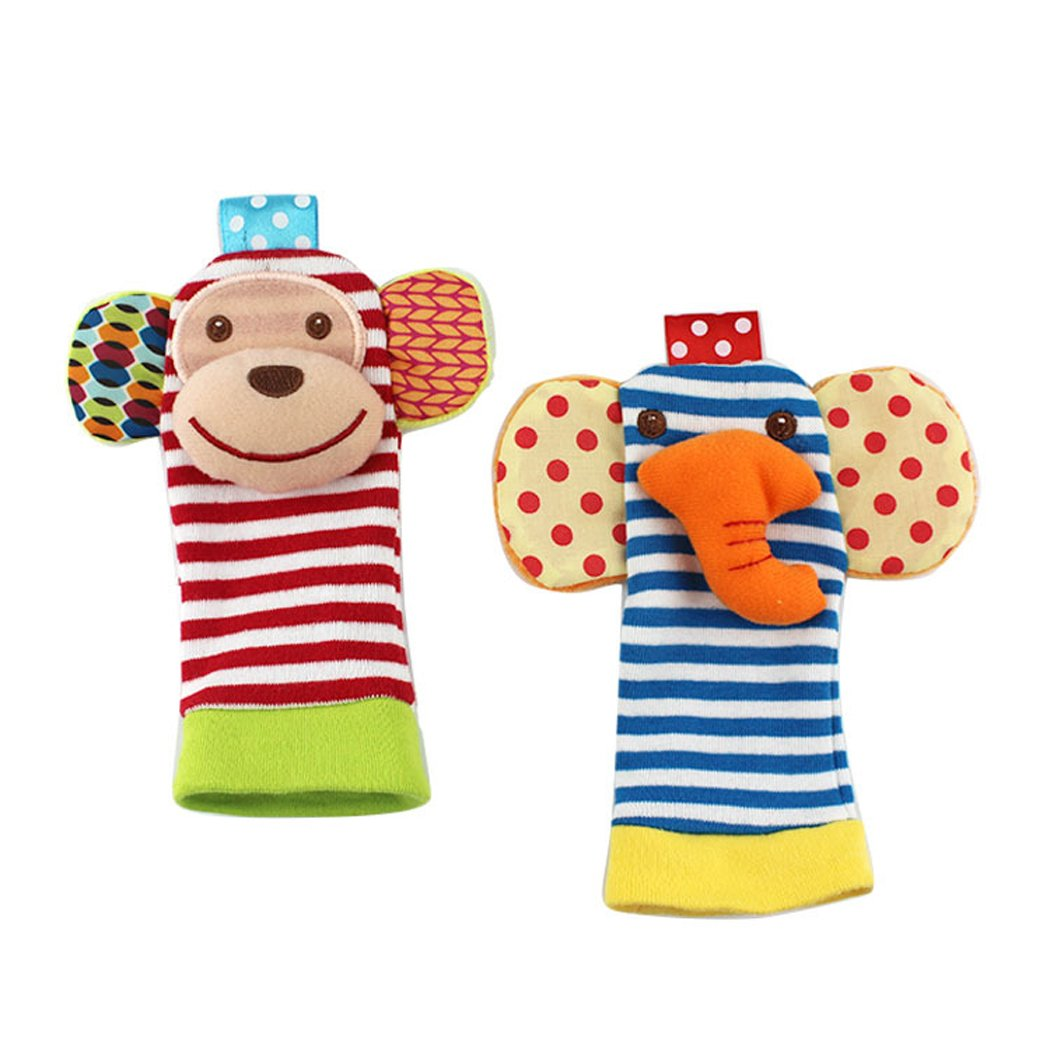 19c9270ceb2 SKK Baby 4 Animal Wrist Rattle and Foot Finder Socks Set Development Toys  Gift For Infant Boy Girl  Amazon.co.uk  Baby