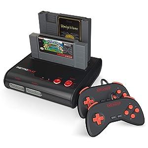 Retro-Bit Retro Duo 2 in 1 Console System - for Original NES and SNES Games - Black/Red