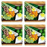 MSD Square Coasters Non-Slip Natural Rubber Desk Coasters design 30194856 exotic herb for spa set in a wooden plate