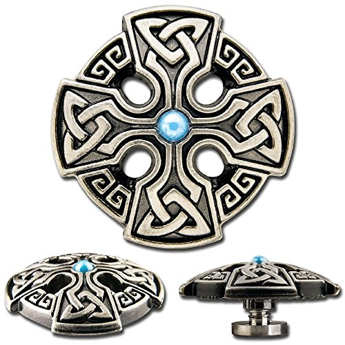 Celtic Screwback Concho, Decorative Screw Back Rivet, Celtic Cross No. 1 with Blue Synthetic Stone