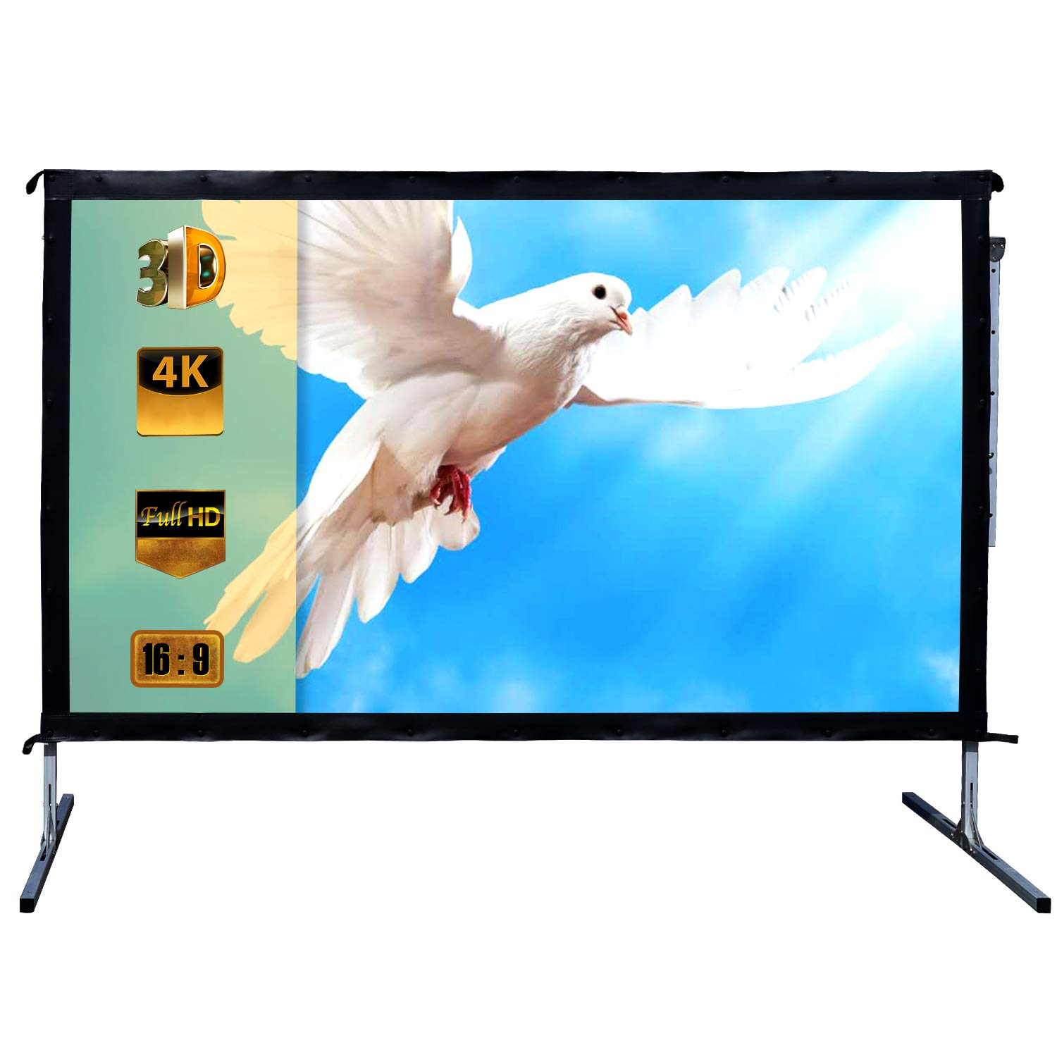 Outdoor Indoor Projector Screen with Stand, 144 inch HD Foldable Portable Projector Screen, 8K 4K 3D 16:9 Projection Movie Screen for Home Theater Camping Recreational Events, Waterproof, Anti-Crease