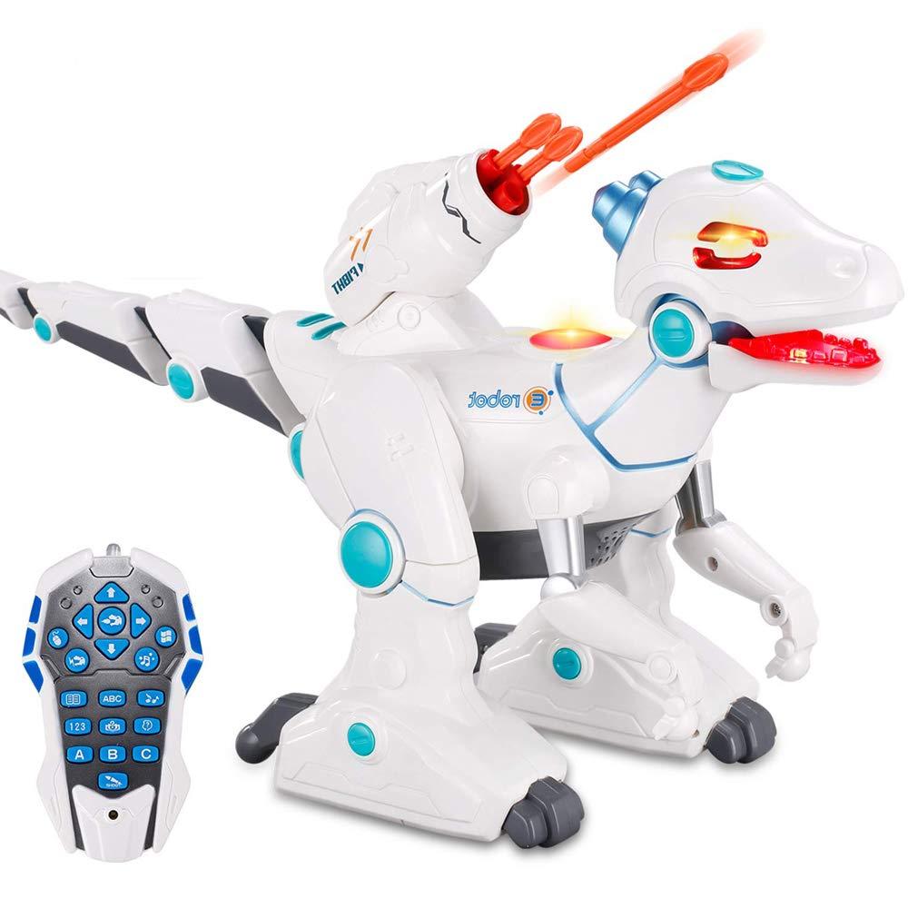 wodtoizi RC Robot Dinosaur Intelligent Remote Control Walking Dinosaur Toy Interactive Educational Dancing Singing Missiles Launching Water Mist Spraying Story Telling Learning Dino Robot Velociraptor by wodtoizi (Image #1)