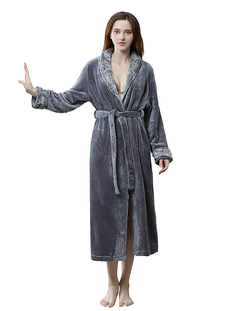 Dark Grey DGGLIFE Women's Warm Fleece Bathrobe Long Flannel Robe Shower Nightgown Sleepwear