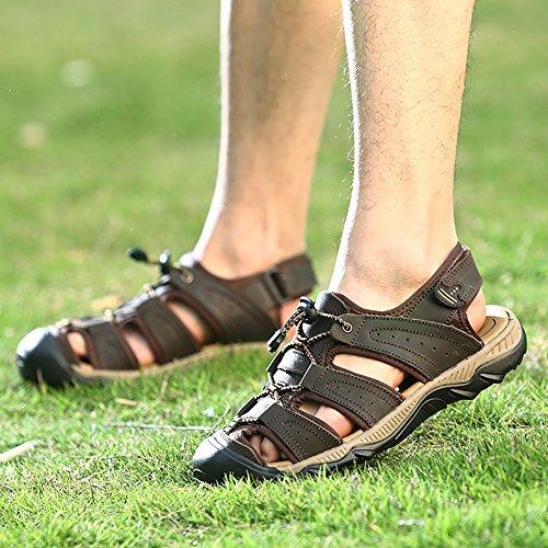 Liveinu Mens Sandaler Atletisk Sport Läder Sandal Nära Tå Stranden Skor Djup Brun