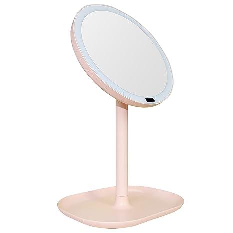 SODIAL Luz de sensor de movimiento recargable de rotacion de espejo de maquillaje Luz de espejo