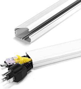 TV Cable Hider on Wall, 31.5 inch Cable Management System for Cord Cable Concealer, Paintable Cord Concealer Hiding Wall Mount TV Wires Cords, 2X L15.7in W1.5in H0.7in White