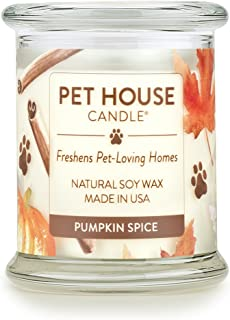 product image for One Fur All - 100% Natural Soy Wax Candle, 20 Fragrances - Pet Odor Eliminator, Up to 60 Hours Burn Time, Non-Toxic, Eco-Friendly Reusable Glass Jar Scented Candles – Pet House Candle, Pumpkin Spice