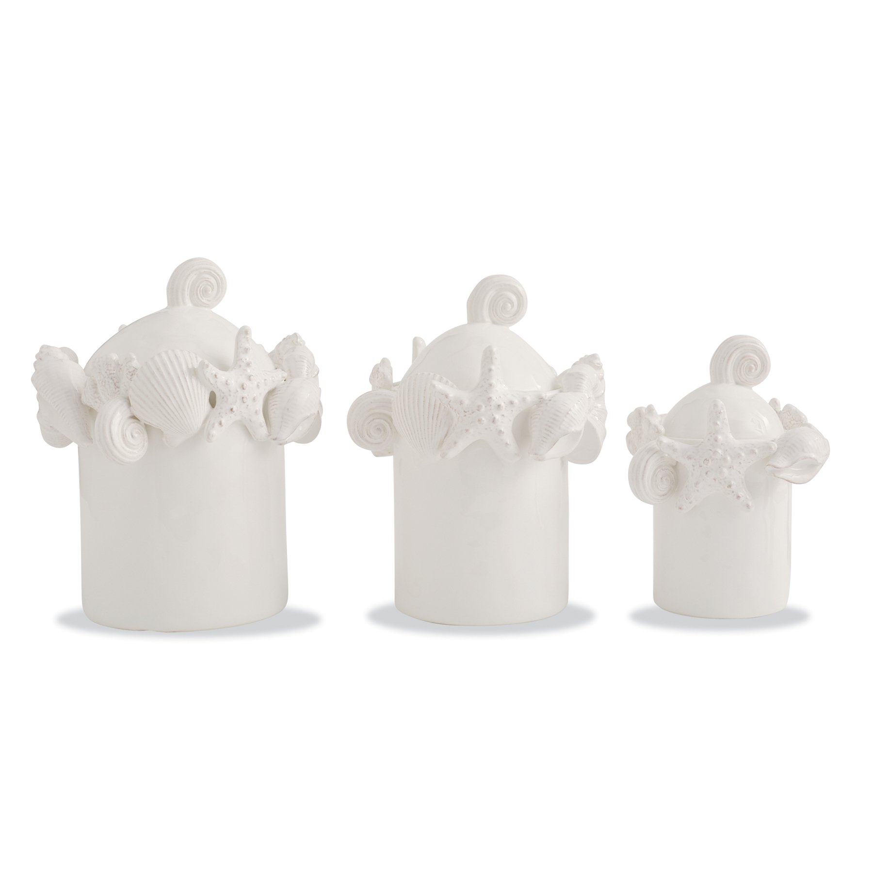 Mud Pie 4931009 Encrusted Shell Canister Set of 3, White