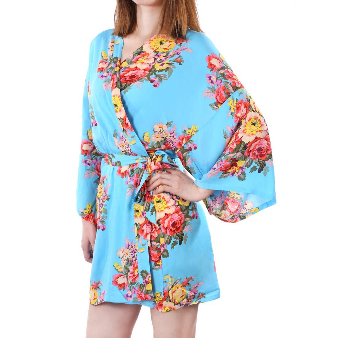 RuiyiF Floral Satin Robes for Bridesmaids, Women's Kimono Robe Plus Size Sleepware Bathrobes for Girls with Storage Bag (White)
