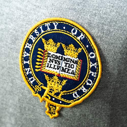 Oxford University Fleece Teddy Pullover Grau Reissverschluss Wappen L