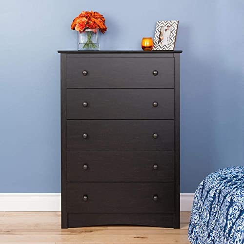 Prepac Sonoma 5 Drawer Chest, Washed Black