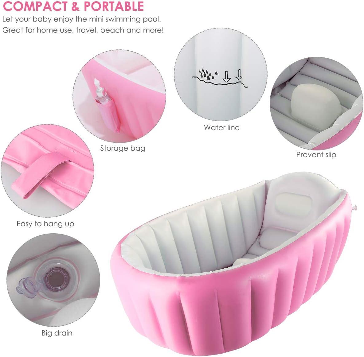 DaMohony Ba/ñera plegable para beb/é reci/én nacidos inflable Ba/ñera port/átil mini piscina de aire plato de ducha para beb/és de 0-3 a/ños