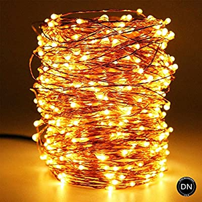 Daily-Necessities Battery operated string lights 33ft 100 LED Waterproof Dimmable Copper Wire with Remote Control,Suitable for outdoor, Bedroom, Parties, Garden,Wedding, Christmas(Warm White)