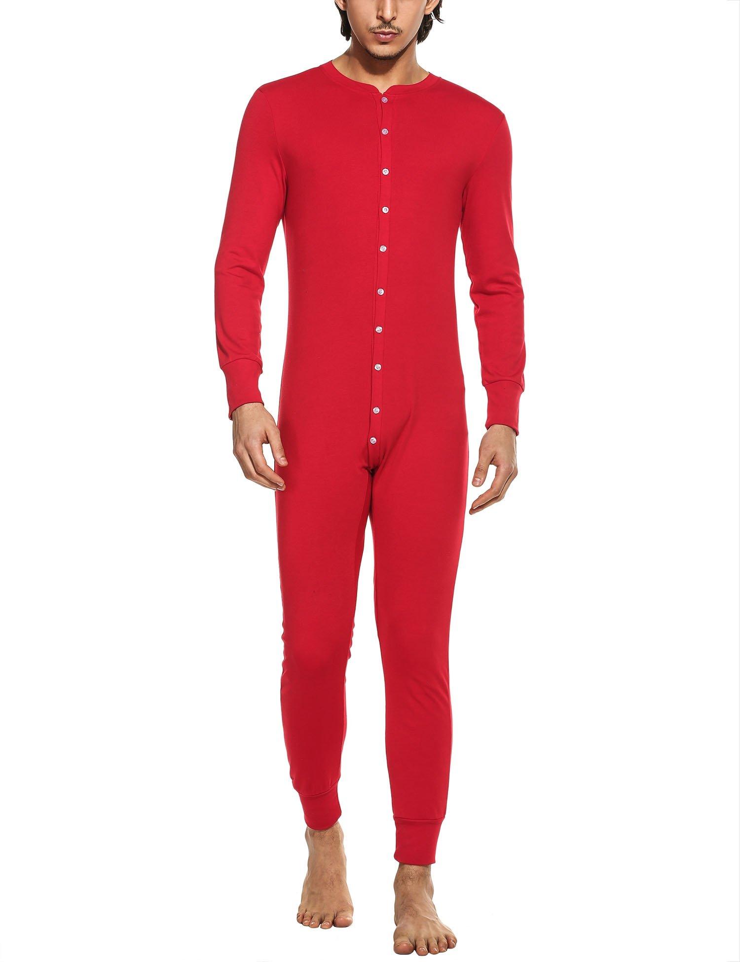 Hotouch Men's Long Midweight Cotton Union Suit Red M