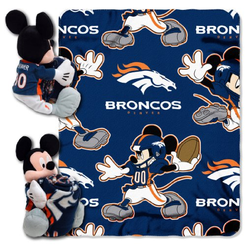 The Northwest Company Officially Licensed NFL Denver Broncos Co Disney's Mickey Mouse Hugger and Fleece Throw Blanket Set, Blue, 40