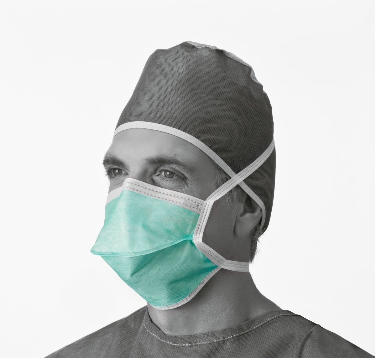 Medline NON27373A Surgical Face Mask, Anti-Fog, Chamber Style, Thin Foam, Latex Free, Green (Pack of 300)