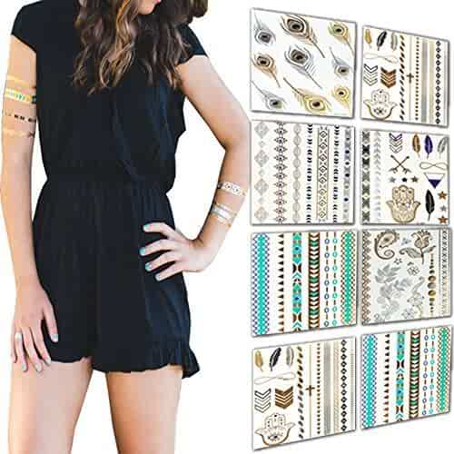 Premium Temporary Tattoos 8 Sheets 100+ Designs of Flash Metallic Gold, Silver & Color Shimmer by Life Essentials-Trendy Tribal & Boho Jewelry Tattoos