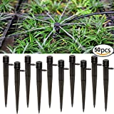 vegetable garden watering system - Pack of 50 Irrigation Drippers for 4mm/7mm Tube, 360 Degree 8 Holes Adjustable Water Flow Drip Emitters - Watering Drippers on Stake Emitter Drip System for Flower Beds, Vegetable Gardens, Herbs Garde