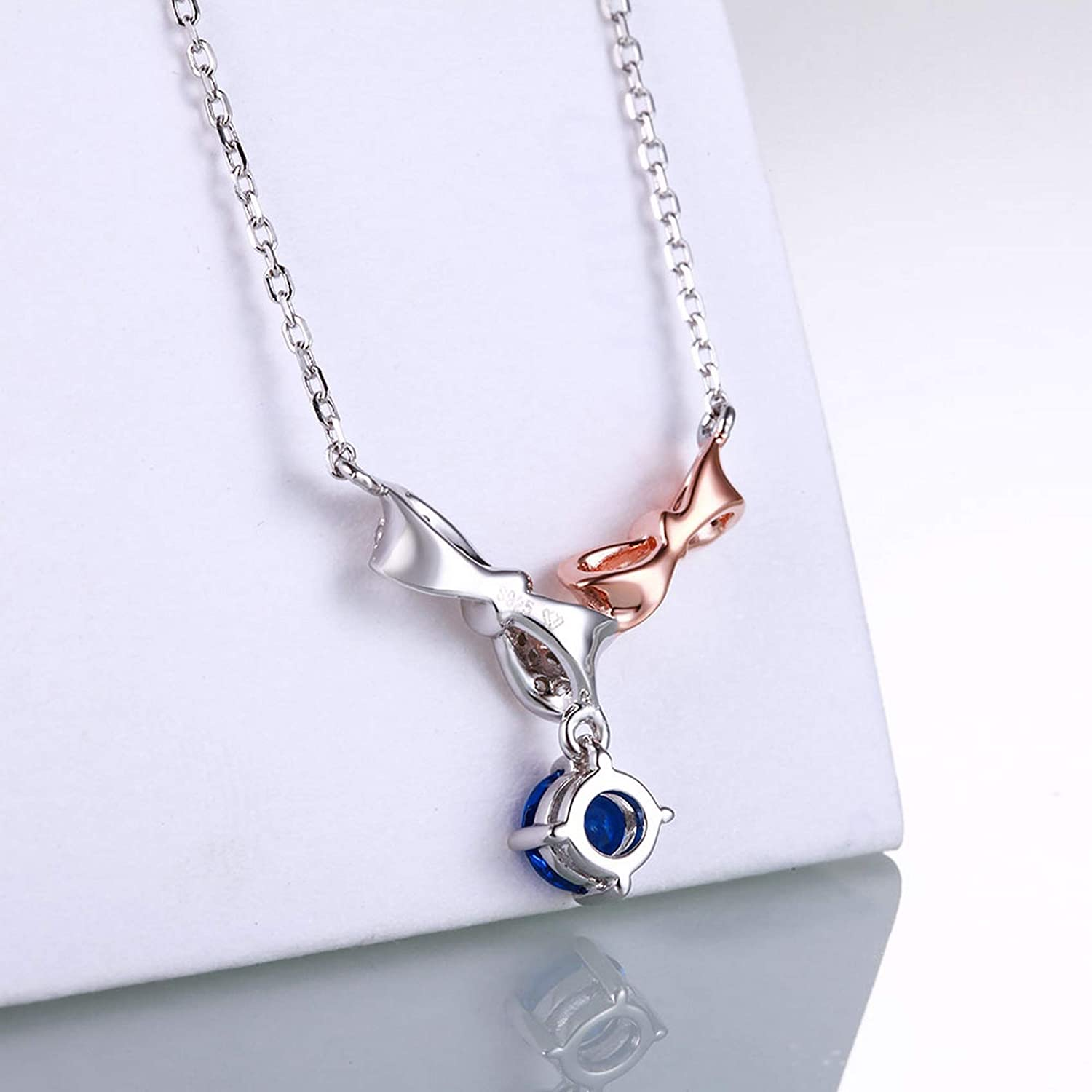 CS-DB Silver Bowknot Sapphire Wedding JewelryPendants Necklaces For Womens