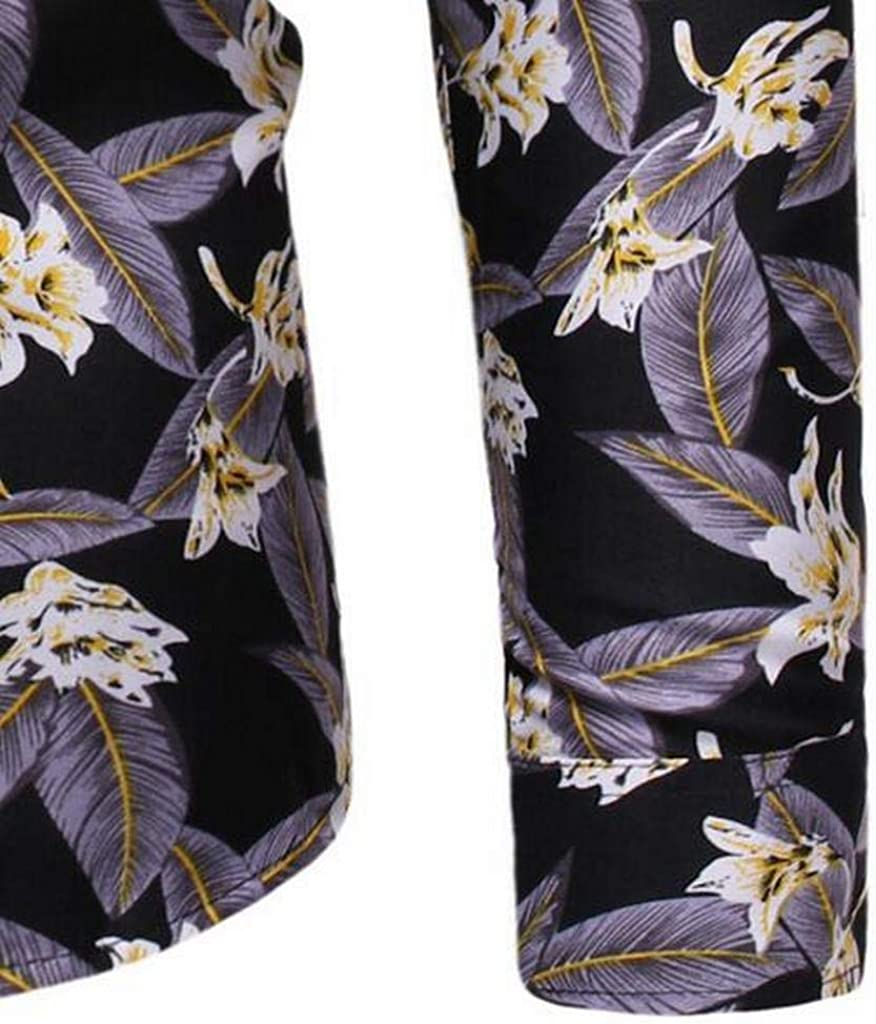 Fubotevic Men Casual Business Button Up Floral Printing Long Sleeve Dress Shirts