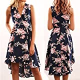 Gotd Women Summer Off Shoulder Floral Irregular Short Mini Dress Ladies Beach Party Dresses (Dark Blue, S)