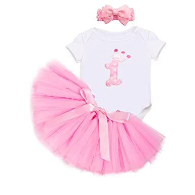 67f30dc43 ACBAGI 1st Birthday Outfit Girl Party Dress for Baby Girls Birthday Party:  Amazon.co.uk: Clothing