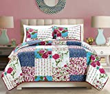 """3-Piece Fine Patchwork printed Oversize (100"""" X 95"""") Quilt Set Reversible Floral Bedspread Coverlet FULL / QUEEN SIZE Bed Cover (Navy Blue, Burgundy, Red, White, Green, Turquoise)"""