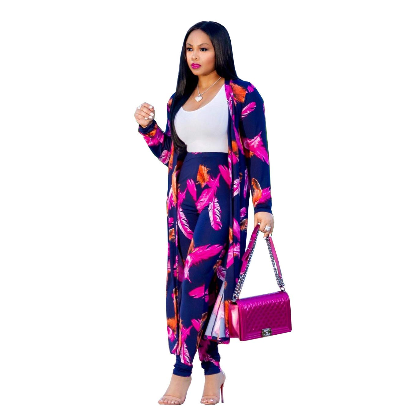 Women 2 Piece Outfits Long Sleeve Floral Open Front Cardigan and Pants Set