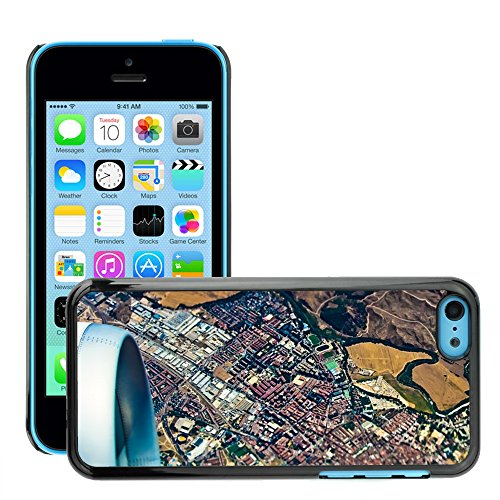Stampato Modelli Hard plastica Custodie indietro Case Cover pelle protettiva Per // M00421570 Ville Avion Air Flight Vue aérienne // Apple iPhone 5C