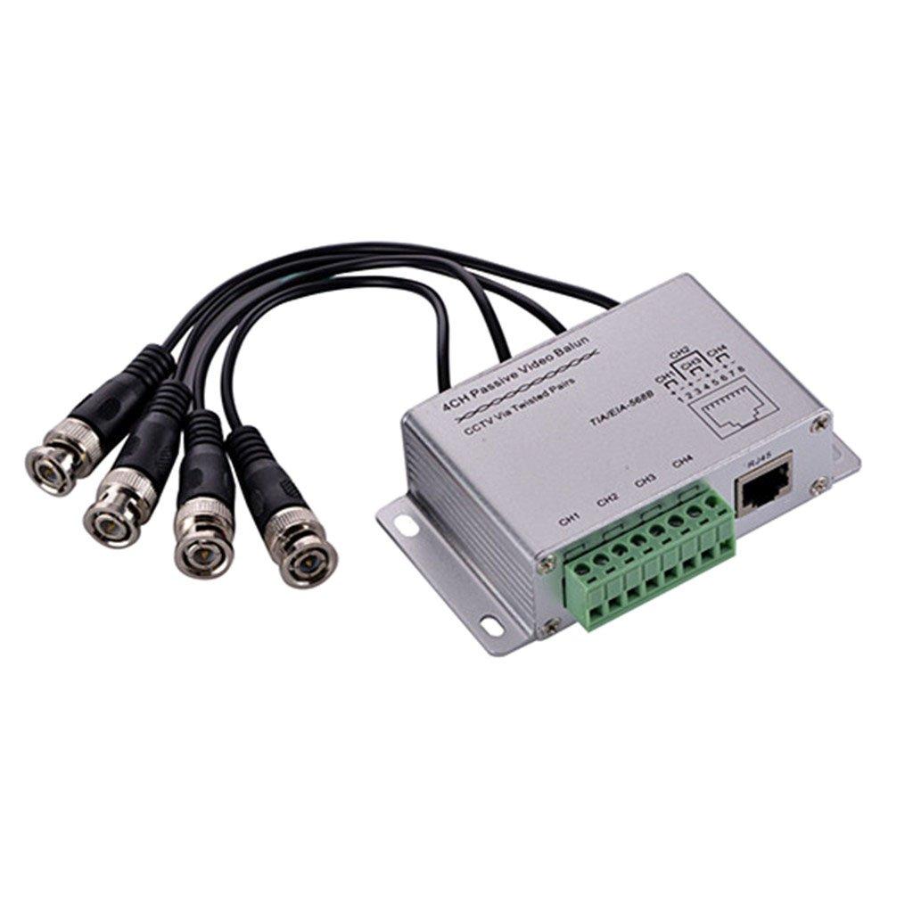 Baoblaze 4CH HD HDCVI/HDTVI/AHD Passive Transceiver Adapter Transmitter Video Balun with BNC Male