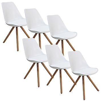Lot de 6 chaises blanc VELTA PIEDS EN BOIS Amazon Cuisine & Maison