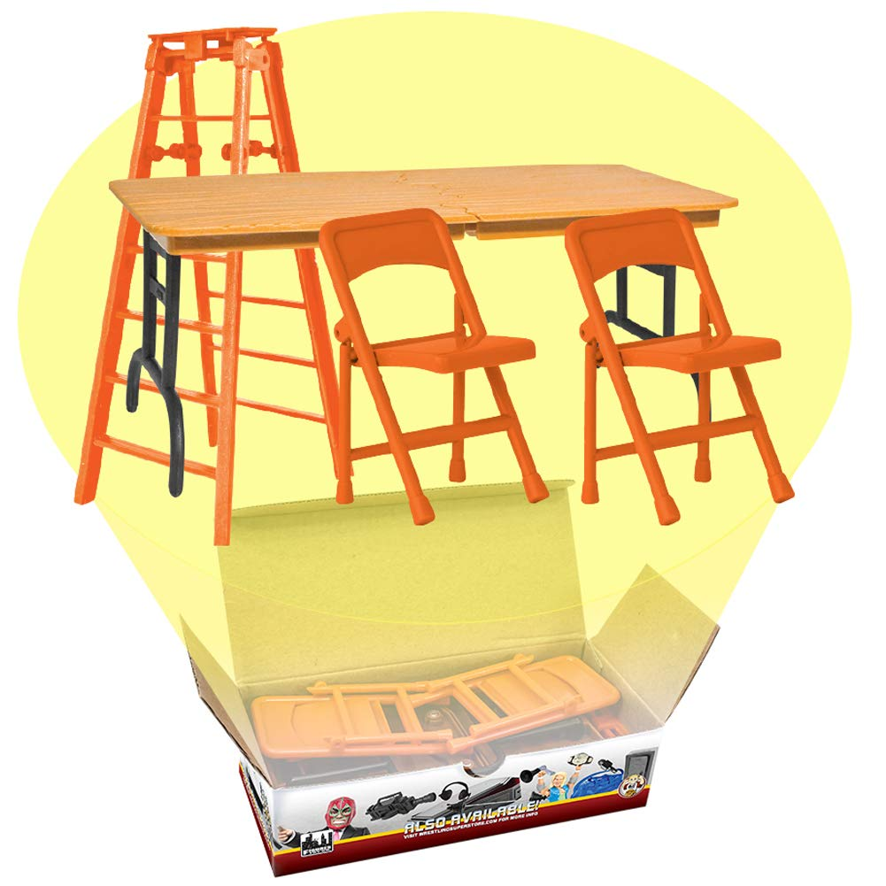 Ultimate Ladder, Table and Chairs Orange Playset for WWE Wrestling Action Figures Figures Toy Company